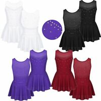 Girls Sparkly Figure Ice Skating Dress Lyrical Modern Dance Tutu Skirt Costume