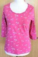 M&S Ladies T Shirt Top 14 Pink Parasols Beach Brollies Summer Holiday (op)
