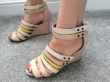 NEW WT CLARKS LEATHER MULTI COLOUR WEDGE SANDALS SIZE U.K. 4.5 Cost £54