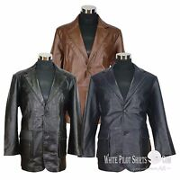 Suit Blazer leather jacket Mens patch pocket Cut Lapel Gents Casual Soft Coat