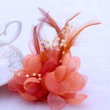 Orange Bridal Flower Feather Bead Hair Clips Fascinator Brooch Pin Wedding