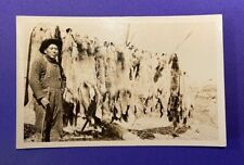 1930s Rppc Trapping Coyote Fox Wolf Canine Idaho Indian Trapper in Bib Overalls