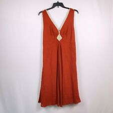 Jonathan Martin Women's Sleeveless Midi Orange V Neck Dress Plus Size 18W New