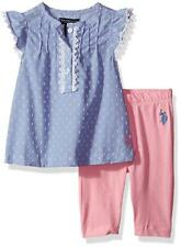 U.S. Polo Assn. Little Girls' Fashion Top and Legging Set Chambray Top Msrp $36