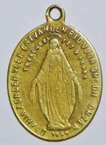 Early Antique 19thC. Brass Miraculous Holy Medal Catholic BVM Mary Monogram 1in