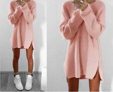UK Women Winter Long Sleeve Jumper Tops Knitted Sweater Loose Tunic Mini Dresses
