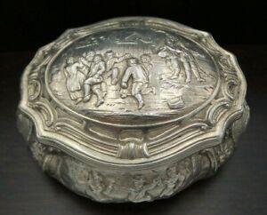 Rare Antique Art Nouveau 1900s Hanau Germany Ornate 800 Silver Snuff Box