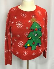 Ugly Christmas Sweater Women's XXL Red Green Tree Pom Poms Gold Sequin Star
