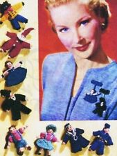 Vintage Knitting Pattern-make tiny wee lapel doll brooches-wartime 1940s pattern