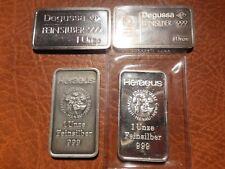 4 Silber Motiv-Barren. Heraeus und Degussa