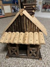 Bird House Log Cabin Vermont Hand Made Entrance Porch Roof Chimney 11x11