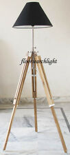 Royal DESIGNER Nautical Tripod Floor Lamp Modern Teak Wood Lampshade Tripo Stand