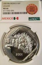 2001 Mexico Silver 5 Pesos Jaguar Ngc Ms 66 High Grade Very Scarce Coin !