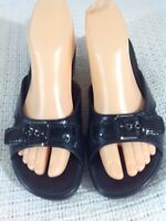 COLE HAAN  Black Leather Slide Sandals Wedge Women's Size 7.5 B