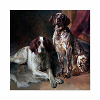 Uchermann Two Dogs Painting Large Wall Art Print Square 24X24 In