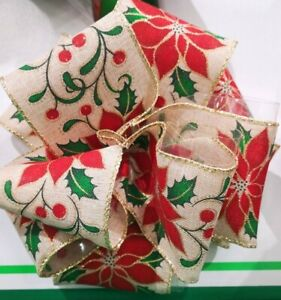 CHRISTMAS RIBBON POINSETTIA FLOWER WIRE EDGED CRAFT DECORATION GIFT WRAP MERRY