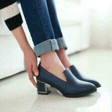 Women's british Pointy Toe Chunky Heel slip on loafer Casual Shoes MOON