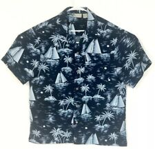 Island Shores Shirt Men's Medium Hawaiian Casual Polyester Short Sleeve Blue