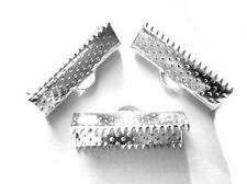 20 SILVER PLATED RIBBON THONG CRIMPS JEWELLERY MAKING END CAPS FINDINGS 20mm