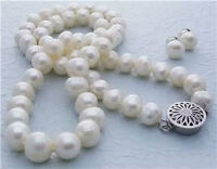 8-9MM White Akoya Cultured Pearl necklace silver clasp earrings set