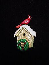 """JJ"" Jonette Jewelry Antique Gold Pewter CARDINAL Christmas Wreath Birdhouse Pin"