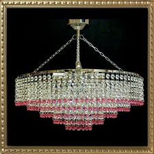 Lead Crystal Chandelier light Chandalier chandlier Lamp Chrome IT-PL-Pink50