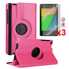 Google Nexus 7 2nd- HotPink 360 Degree Leather Case+3pcs Matte Screen Protector
