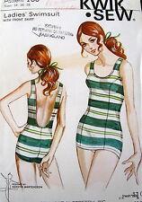 Vtg 60s Kwik Sew Womens Swim Suit Pattern #160 sz 14 16 18 FF Swimming