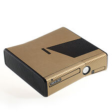 Textured Gold Carbon Fibre Effect  XBOX 360 Slim decal skin sticker cover wrap