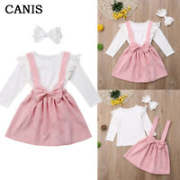 3PC Newborn Infant Baby Girl Clothes Shirt+Bowknot Strap Skirt Dress Outfits Set