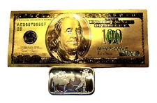 1 OUNCE .999 FINE SILVER RETRO PROSPECTOR BAR BU  + 1 99.9% 24K GOLD $100 BILL