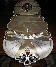 "Embroidered Angels & Stars Table Runner Christmas Decor Table Runner 69""x 13"""