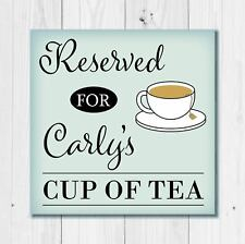 Personalised Cup of Tea Glass Coaster Mum Dad Husband Wife Birthday Gift Present