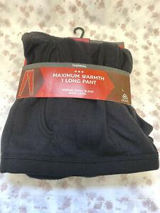 """NEW Marks & Spencer M&S 2XL waist 42-44"""" black merino-blend long pant base layer"""