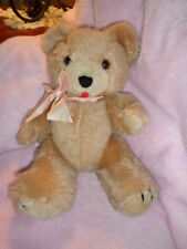 Bear Tan with  Pink Bow Vintage 12 Jointed Teddy Allied Stores INT'L KOREA Made