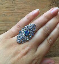 Stunning Vintage Style Rhinestone Dress Ring/Crystal Statement/Cocktail/Blue