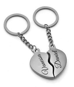 Set Partner-Schlüsselanhänger mit Gravur nach Wunsch geteiltes Herz in SILBER