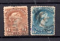 Canada QV 1868 6c & 12 1/2c Large Heads used #59b & 60 WS20833