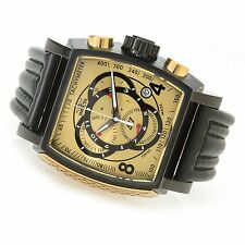 Swiss Made Invicta 20251 S1 Rally Chronograph Leather Strap Gold Dial Mens Watch