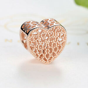 Genuine ROSE GOLD on Sterling Silver 'FILLED WITH ROMANCE' Love Heart CHARM BEAD