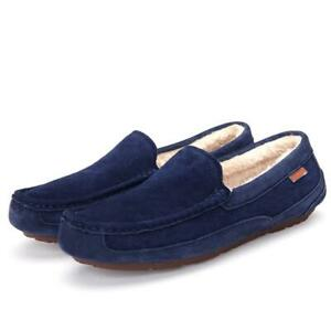 Mens New Gent Warm Winter Moccasin Flat HardSole Slippers Driving Shoe UK Size D