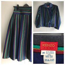 Kenzo Paris 2 Piece Vintage Matching Skirt And Jacket Set SIze 36 Ethnic Stripe