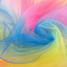 1 Yard 57'' Lace Fabric Organza Rainbow Embroidery Wedding Dress Decor Crafts