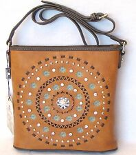 Montana West Brown Concealed Carry Cross Body Bag W Studs Lace- Ups Concho