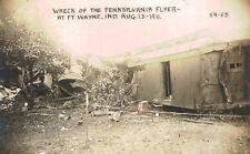 RPPC,Fort Wayne,IN.Penn Flyer Wreck,Pennsylvania R.R.,Damaged Car,Aug,13,1911