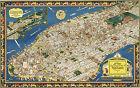 1920 Map Isle of Manhattan New York Historic Pictorial Aerial View Art Print
