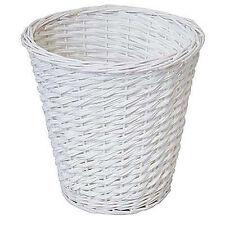 JVL Wicker Waste Paper Basket 28cm - White