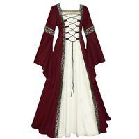 Women Vintage Medieval Floor Length Renaissance Gothic Cosplay Costume Dresses