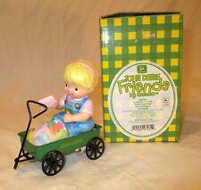 """Vintage John Deere Figurine Cake Topper Enesco Girl in Wagon RARE NEW 3.5"""""""