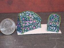 Dollhouse Miniature Green Floral Sofa Chair 1:48 Quarter 1/4 F52 Dollys Gallery